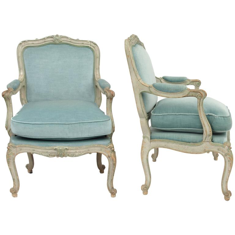"Pair of Louis XV Style ""a châssis"" Armchairs, circa 1900"
