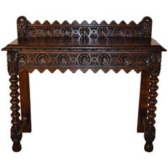 19th Century English Carved Oak Console