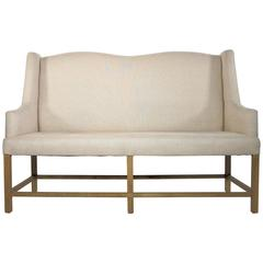 Late 20th Century Two and Half Seat Beige High Back Sofa with Wooden Frame