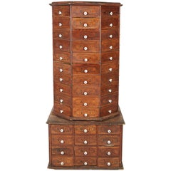 Rotating Octagon Shaped Display Cabinet with Drawer Base