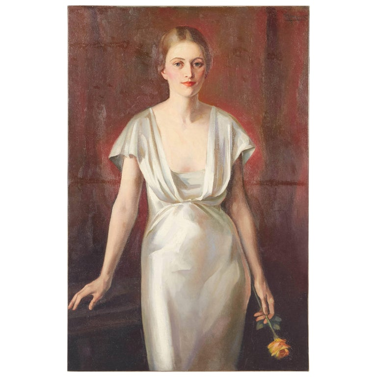 Portrait of Woman in a White Dress