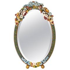 Oval Floral Table Mirror