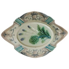 19th Century Majolica Asparagus and Artichoke Platter Fives Lille