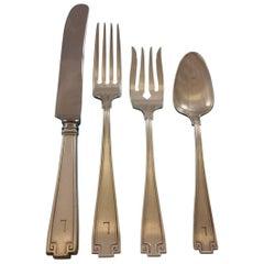 "Etruscan by Gorham Sterling Silver Flatware Set Dinner Service 142 pcs ""L"" Mono"