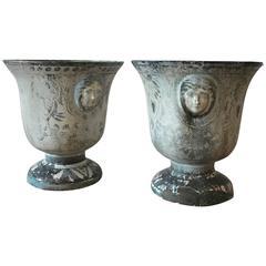 19th Century Enameled Cast Iron Rouen Urns