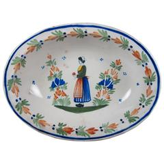 Henriot Quimper Rustic Breton Woman Couronnes Vegetable Bowl, circa 1920