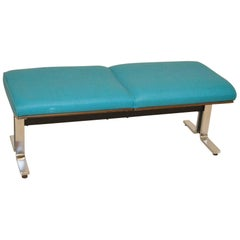 Turquoise Upholstered Bench Attributed to Thonet Steel Chrome