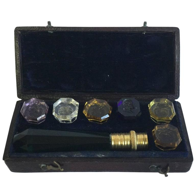 Victorian Bronze Mounted Glass Intaglio Seal Set, 19th Century