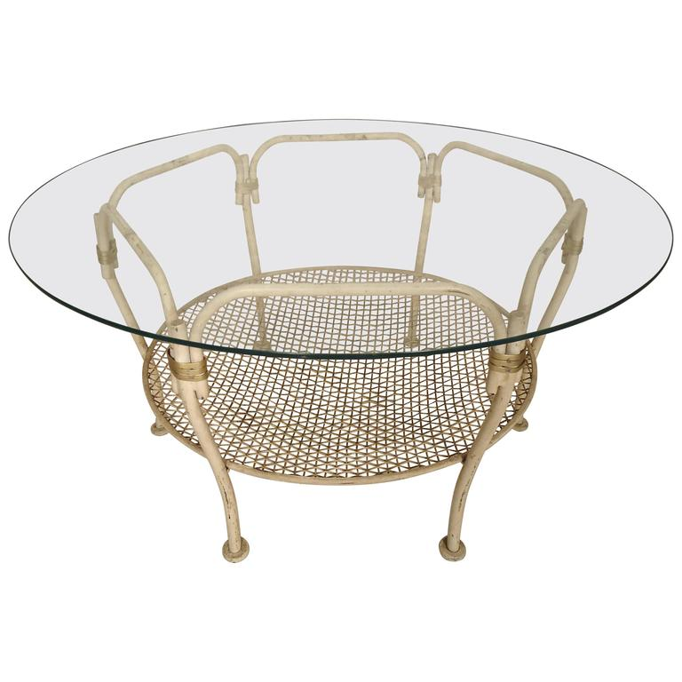 Vintage Modern Iron Glass Top Table