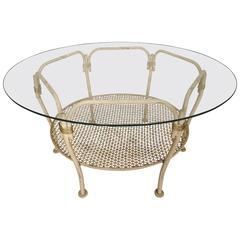 Vintage Modern Iron Glass Top Table