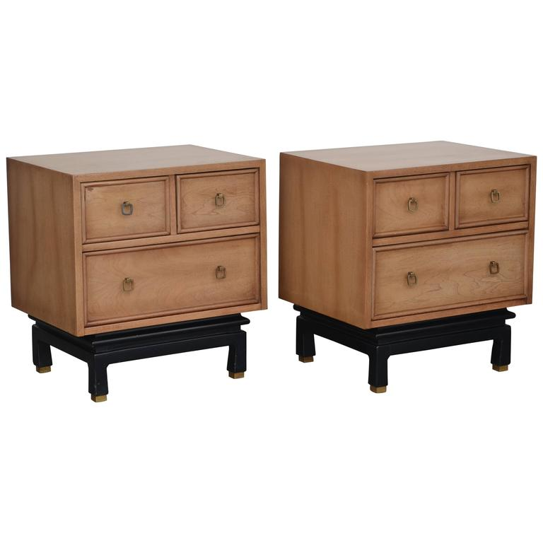 Pair of bleached oak nightstands by american of for American martinsville bedroom furniture