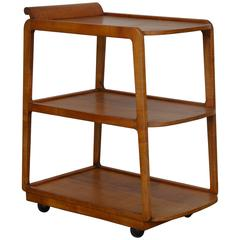 American Streamline Moderne Maple Bar Cart