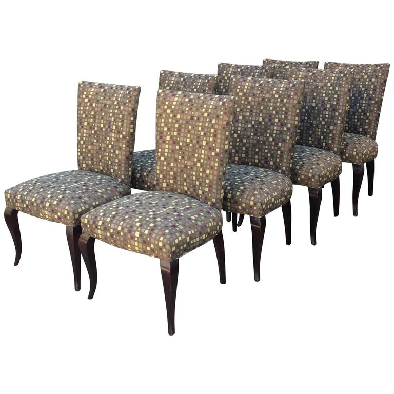 Sleek contemporary set of eight barbara barry dining for Sleek dining room furniture