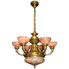 Antique Chandelier, Alabaster