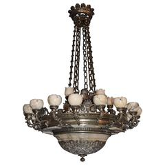 Antique Chandelier, Silver over Bronze and Alabaster