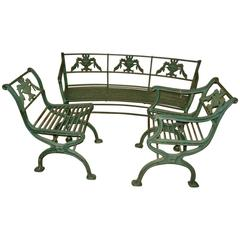 Cast Iron Regency Bench and Pair of Chairs