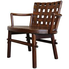 Woven Leather Back Lounge Chair