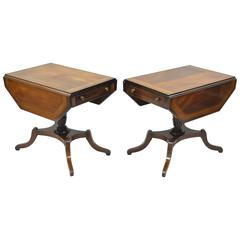 Pair of Regency Style Mahogany Banded Inlaid Drop Leaf Pembroke End Tables