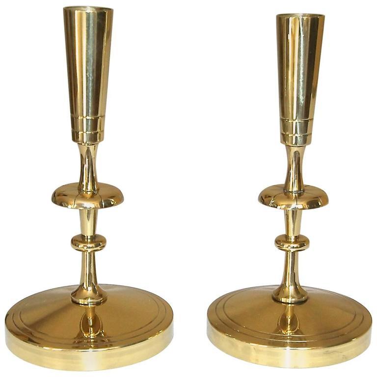 Pair of Tommi Parzinger for Dorlyn Brass Candlesticks