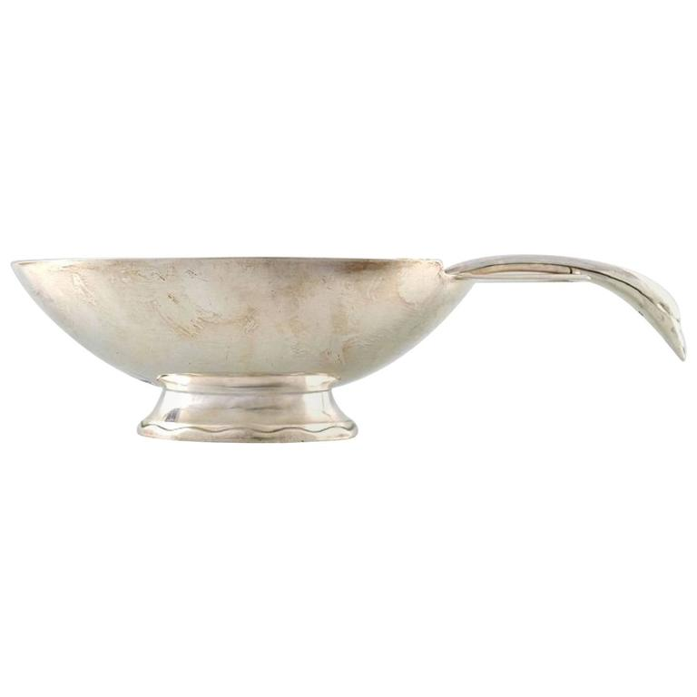 """Swan"" Sauce Boat with Sauce Spoon in Silver Plated Brass, Christofle For Sale"