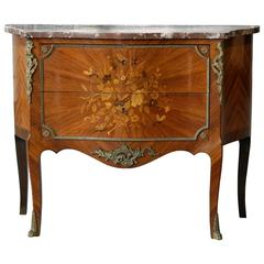 Italian Rococo Revival Bombay Chest with Brown Marble Top