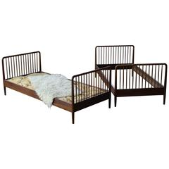 Ole Wanscher Pair of Guest Beds in Cuban Mahogany Danish, Mid-Century