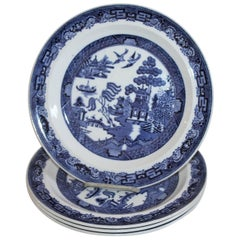 Set of Four 19th Century Wedgewood Blue Willow Plates