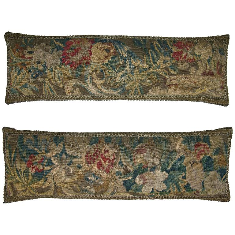 Pair of Antique Flemish Tapestry Pillows, circa 17th Century