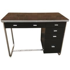 Art Deco Tubular Chrome, Wood, Laminate Desk by Gilbert Rohde
