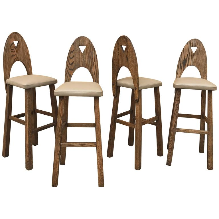 Arts And Crafts Oak And Leather Barstool Set At 1stdibs
