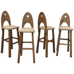 Arts & Crafts Oak and Leather Barstool Set