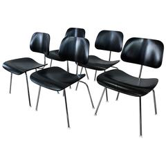 Eames for Herman Miller Ebony DCM Chairs, Five Available