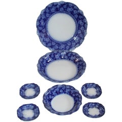 Set of Seven till and Sons Flow Blue Plates and Bowls