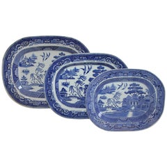 Collection of Three English Blue Willow Platters