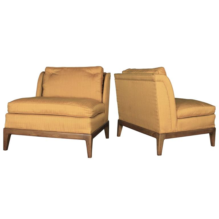 Gold Slipper Chairs Drexel For Sears Symphony Vintage Mid Century Modern Pair