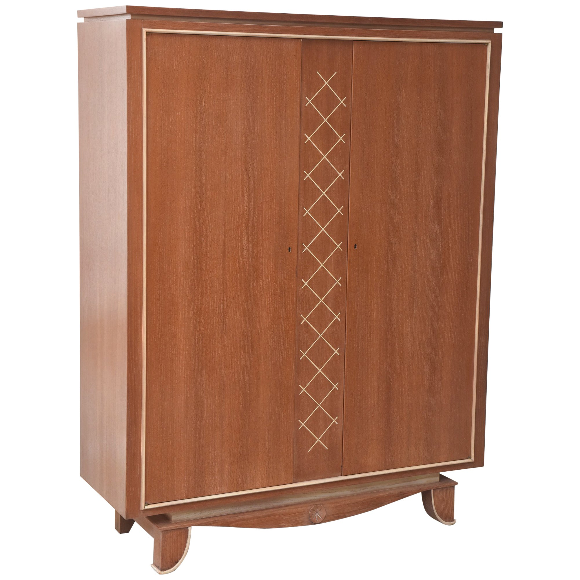 Pierre Petit French Modern Limed Oak and Parchment Tall Cabinet