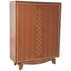 Pierre Petit French Modern Limed Oak and Parchment Tall Cabinet, 1940s