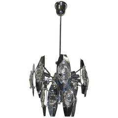 Esperia Sculpture Chandelier Steel and Glass, 1970s