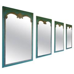 Set of Four French Rococo Revival Mirrors, Turquoise Paint and Giltwood, France