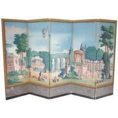 French Directoire Period Painted Wallpaper, End of the 18th Century