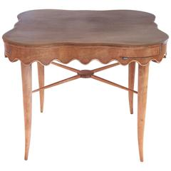 Paolo Buffa Bridge Table in Sycamore, circa 1940, Italy