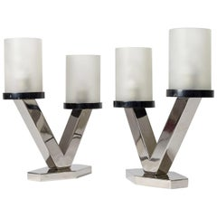 1920s Art Deco Table Lamps, Nickel and Glass