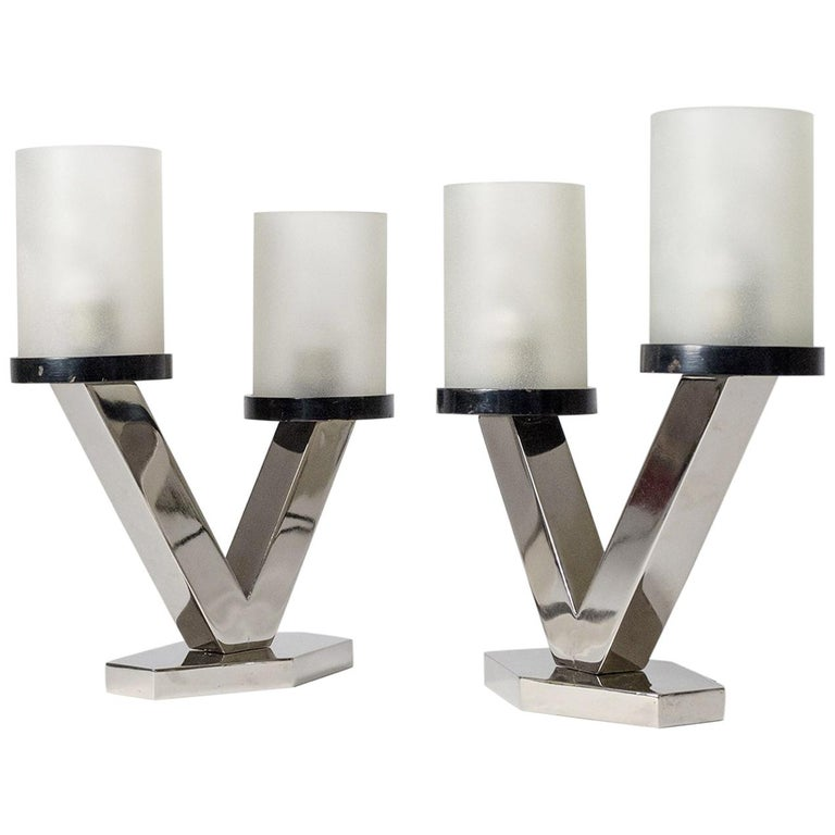 1920s Art Deco Table Lamps, Nickel and Glass For Sale