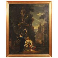 19th Century Antique French Romantic Scene Painting