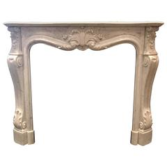 Richly Carved Carrara Marble 19th Century French Fireplace