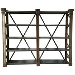 French Industrial Bookcase or Shelves in Cast Iron and Iron