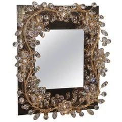 Cristall Wall Mirror Design Sciolari Roma, 1970s Gold Brass Classic