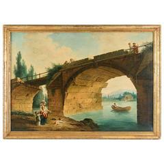 French School 'the Footbridge in Ruin' to the Manner of Hubert Robert, 1820