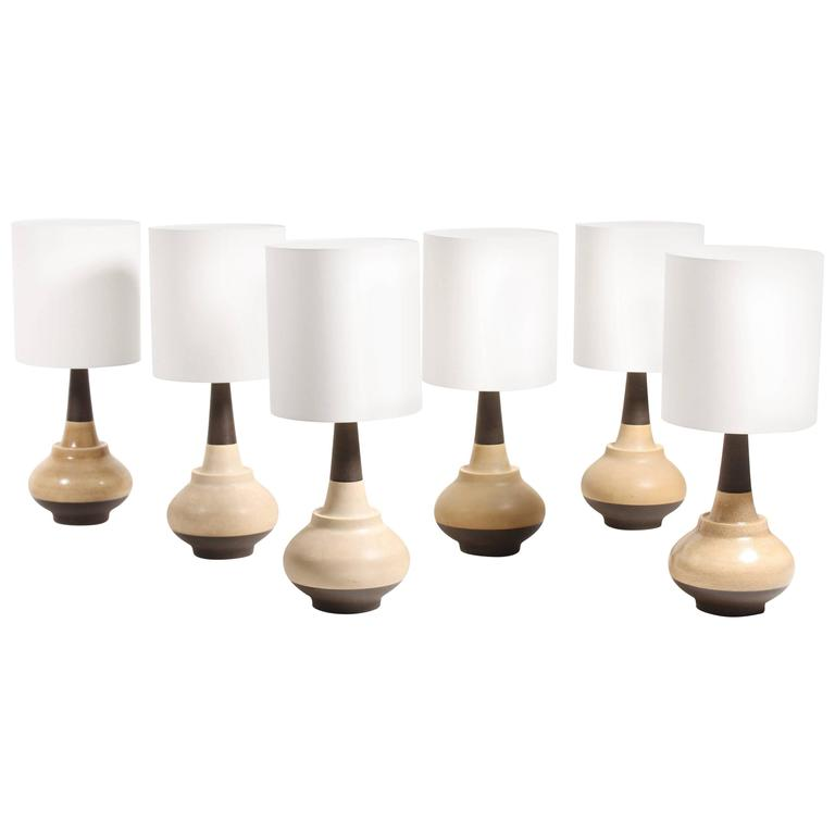 Set of Six Hand-Thrown Ceramic Table Lamps