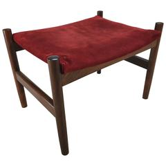 Danish Modern Rosewood and Suede Ottoman by Spottrup, Denmark